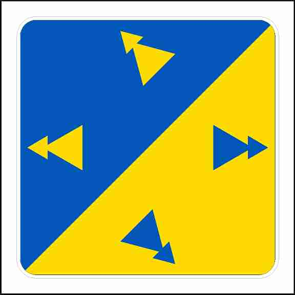 Directional Decal With Yellow and Blue Arrows