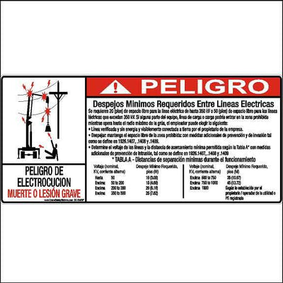 Spanish Crane Safety Label Peligro Despejos Minimos Requeridos Entre Lineas Electricas