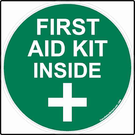 sticker or sign printed with first aid kit inside, ansi green and white in color