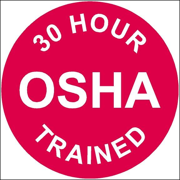 30 Hour OSHA Trained Hard Hat Sticker