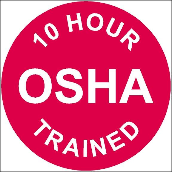 10 Hour OSHA Trained Hard Hat Safety Decal.