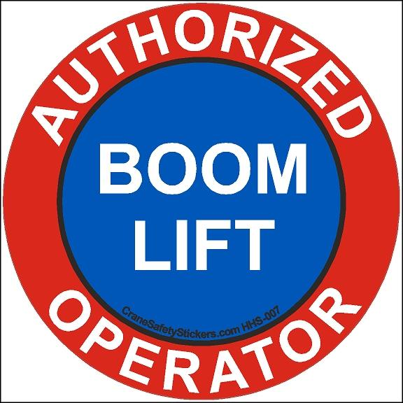 Hard Hat Safety Decal Authorized Boom Lift Operator