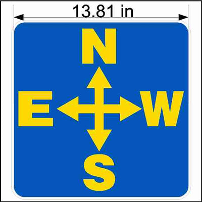 Directional Decal With Yellow and Blue North South East and West