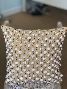 Patterned Beaded Seashell Pillow