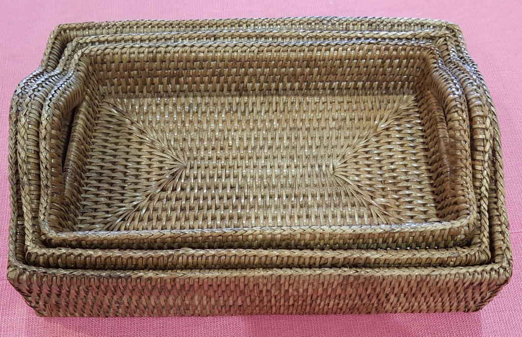 Rattan Drink Tray w/Handle