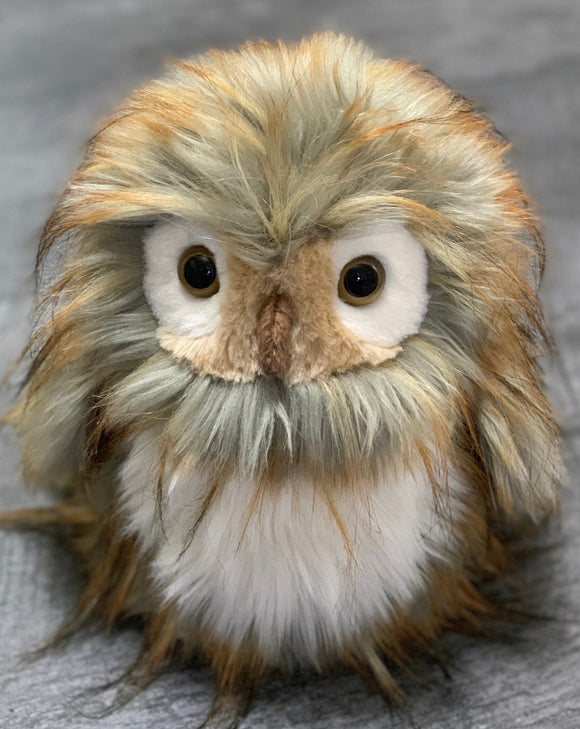 Realistic gray, white, and copper feathery owl weighted stuffed animal for anxiety, ADHD, PTSD, autism, Alzheimer's, Sensory Soothers.