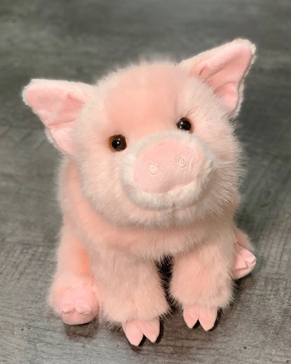 Fuzzy pink pig weighted stuffed animal for ADHD ASD PTSD dementia sensory soothers