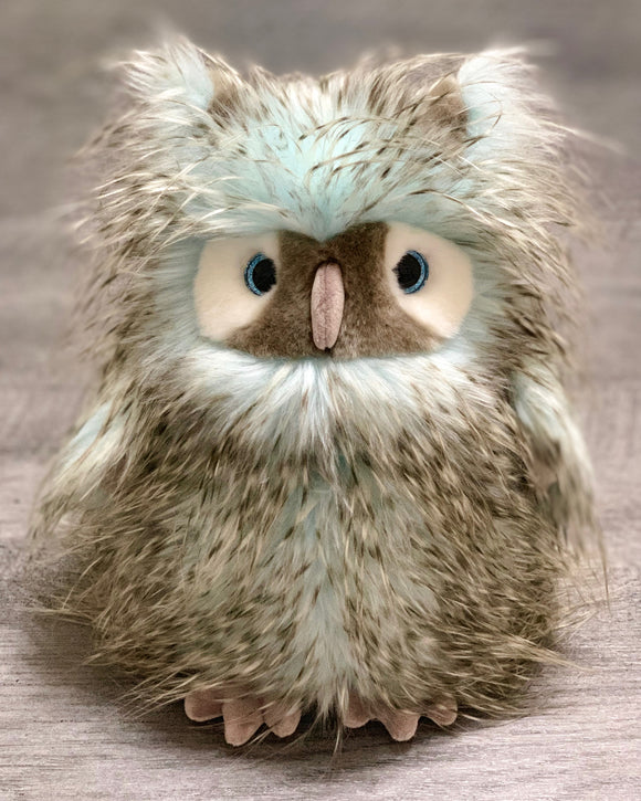 Realistic gray, white, and light aqua feathery owl weighted stuffed animal for anxiety, ADHD, PTSD, autism, Alzheimer's, Sensory Soothers.