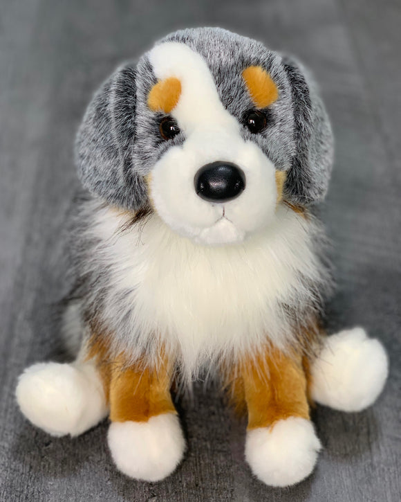 Gray tan and white australian shephard dog weighted stuffed animal for ASD PTSD ADHD sensory soothers