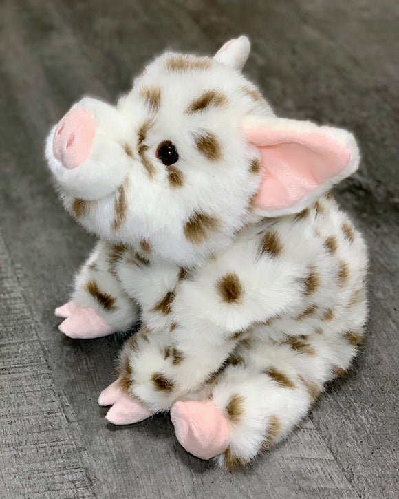 Realistic chubby white pig with brown spots weighted stuffed animal in a floppy laying position.  Soothes anxiety, autism, ADHD, PTSD