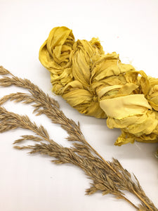 Recycled silk chiffon fabric ribbons yellow