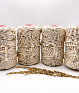 4 mm NATURAL 3-ply cotton rope
