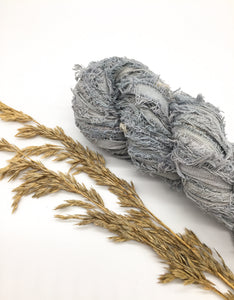 Recycled COTTON FRIZZ ribbons grey blue