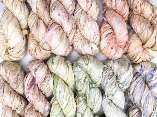 HAND~PAINTED MARBLE sari silk ribbon