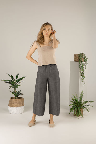 Forest Whispers Culottes - Charcoal