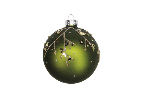 Matt Forest Green/Gold Sequin Glass Ball with Twigs
