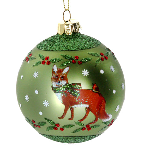 Matt Green Glass Ball with Fox/Holly