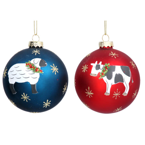 Matt Red/Blue Glass Ball with Cow/Sheep