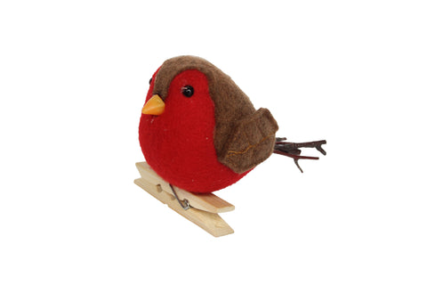 Felt/Twig Robin On Peg Decoration