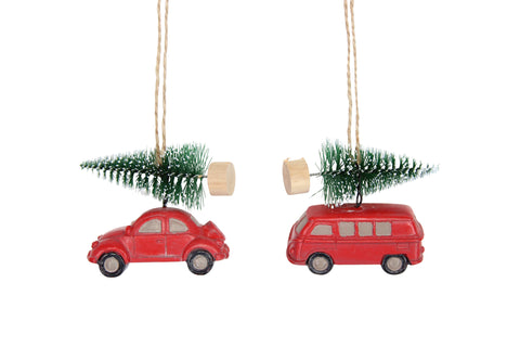 Resin Red Car with Fir Tree