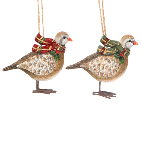 Resin Partridge with Tartan Scarf Decoration