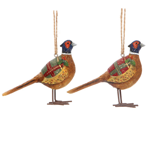 Resin Pheasant with Tartan Coat Decoration