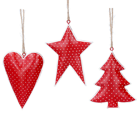 Red/White Polka Dot Tin Decoration