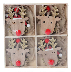Box of 8 Wood Reindeer Heads with Red Noses