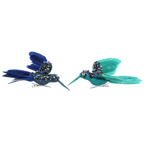 Blue/Turq Sequin/Feather Hummingbird Clip