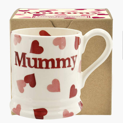 cadeauxwells - Pink Hearts 'Mummy' 1/2 Pint Mug Boxed - Emma Bridgewater - Crockery
