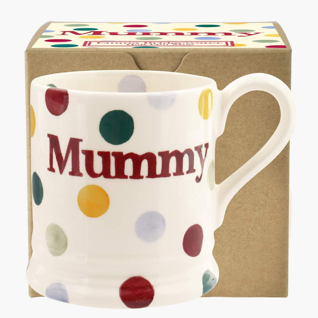 cadeauxwells - Polka Dot 'Mummy' 1/2 Pint Mug Boxed - Emma Bridgewater - Crockery