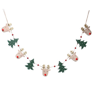 Wood Deer Head/Trees String Garland
