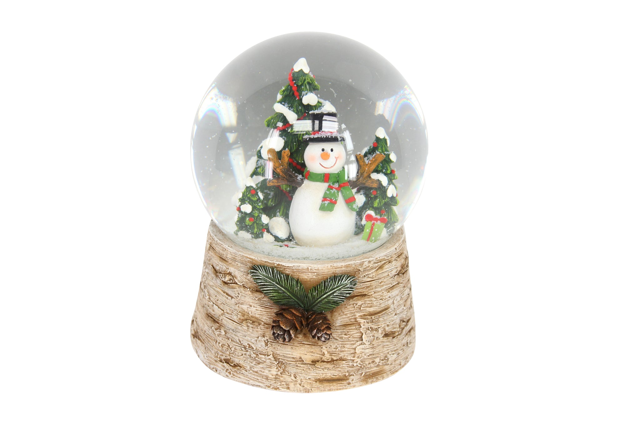 cadeauxwells - Snowman with Tree on Log Base Music Dome - Gisela Graham - Seasonal