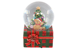 cadeauxwells - Teddy on Tartan Parcel Music Dome - Gisela Graham - Seasonal