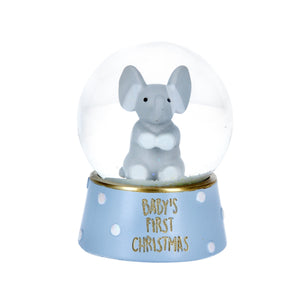 cadeauxwells - Blue/Gold Baby's First Snow Dome with Elephant - Gisela Graham - Seasonal