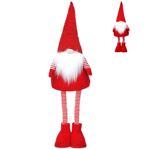 cadeauxwells - Red/White Nordic Fabric Santa with Extending Legs - Gisela Graham - Seasonal