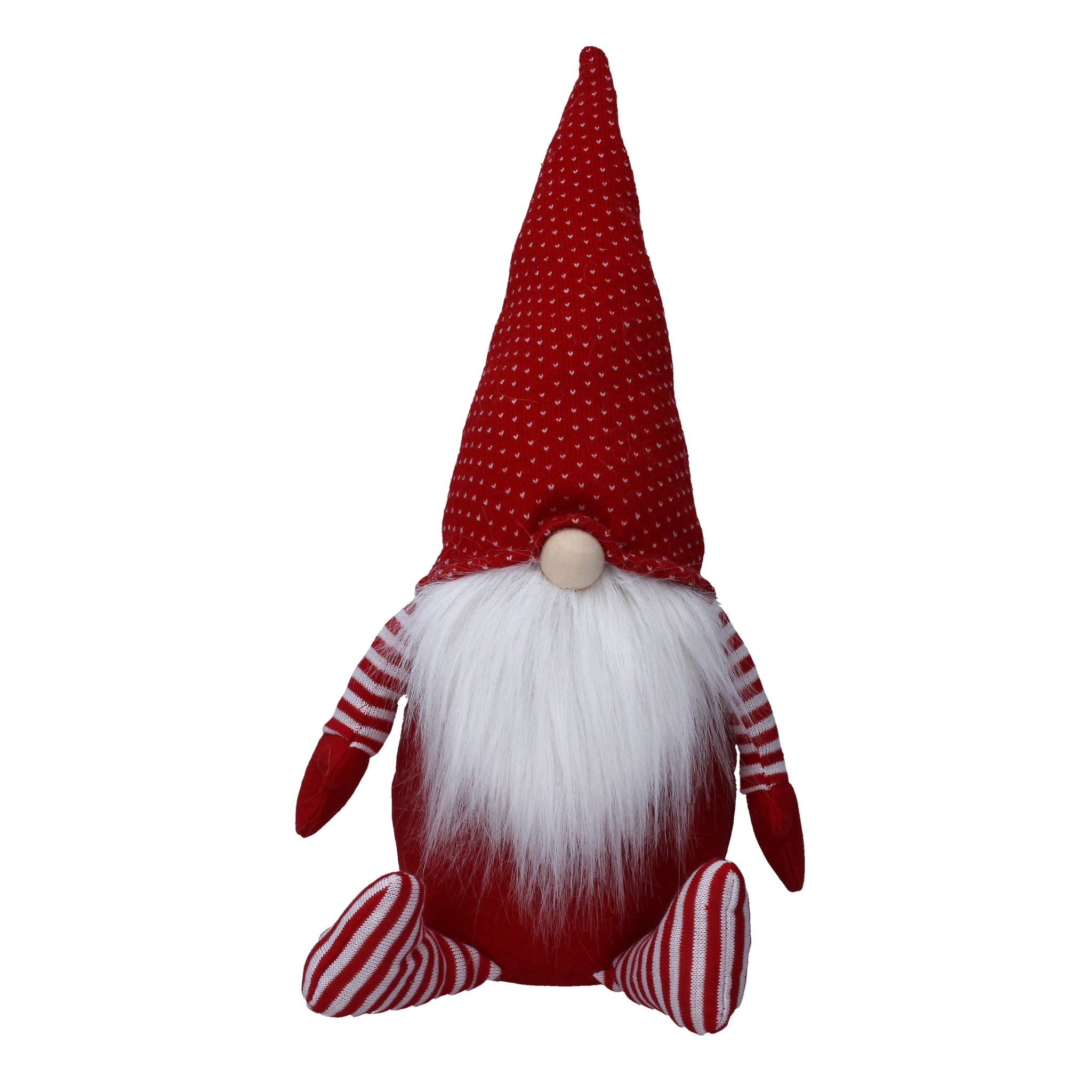 cadeauxwells - Large Red/White Nordic Fabric Sitting Santa Ornament - Gisela Graham - Seasonal