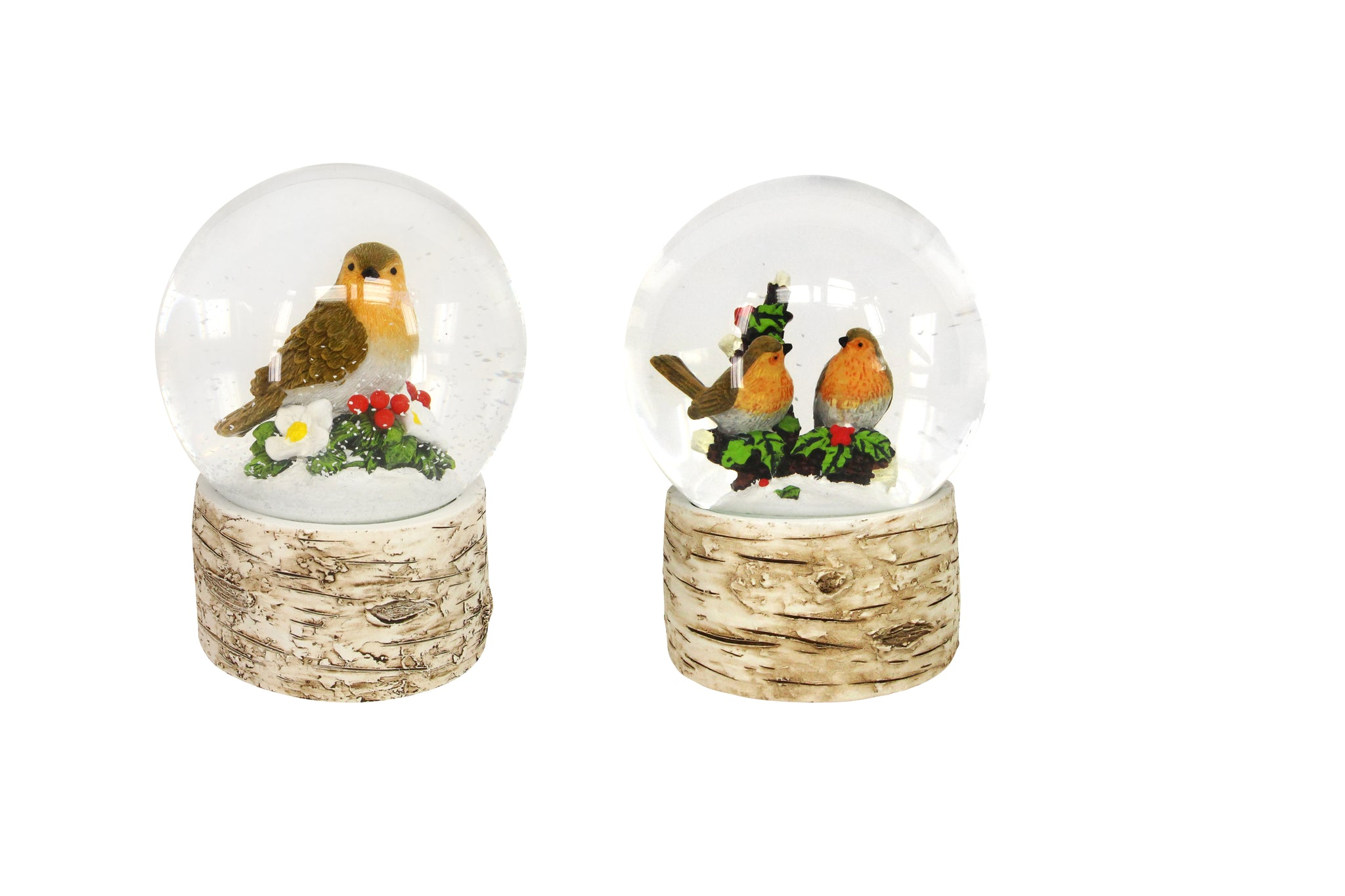cadeauxwells - Large Resin/Glass Robin Snow Dome - Gisela Graham - Seasonal