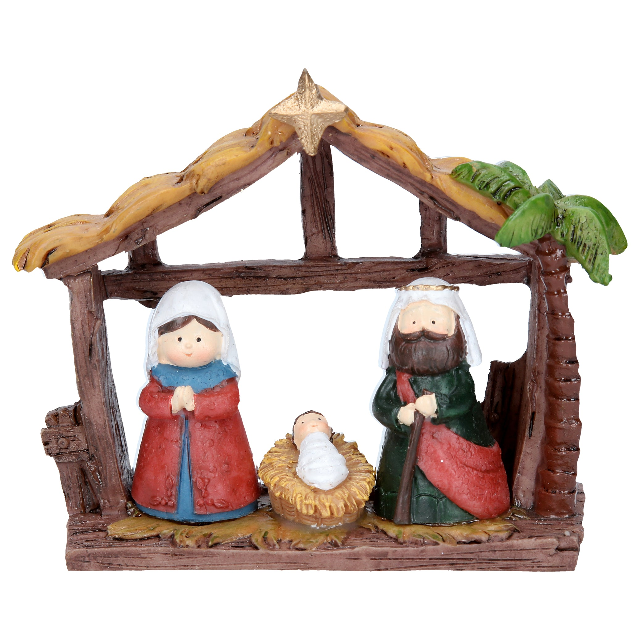 cadeauxwells - Resin Children Nativity House Ornament - Gisela Graham - Seasonal