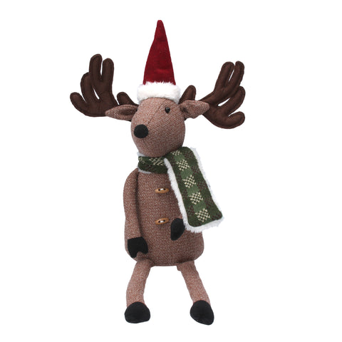 cadeauxwells - Fabric Santa Deer with Scarf Shelf Sitter Ornament - Gisela Graham - Seasonal