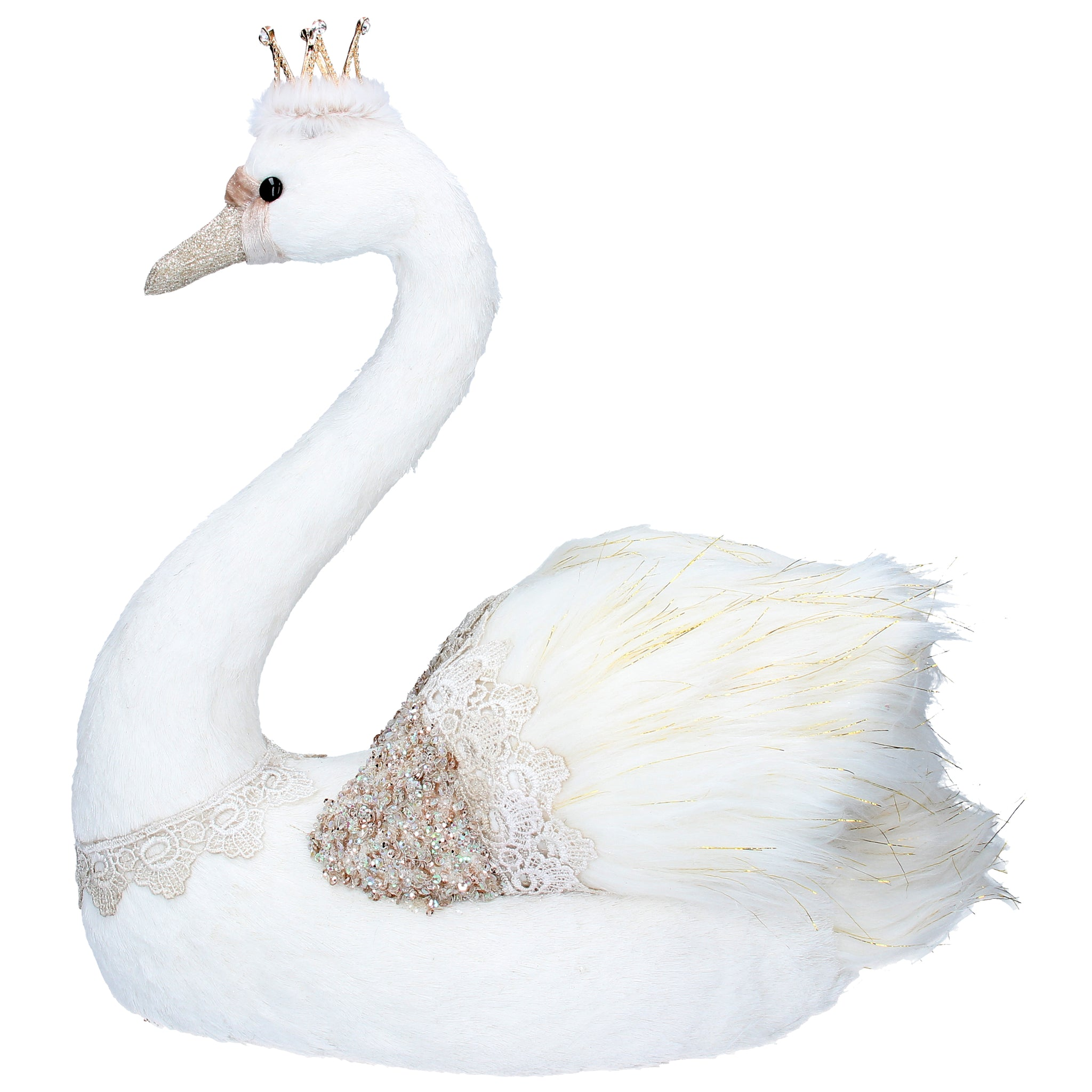 cadeauxwells - Large Cream/Gold Fabric/Feather Swan Ornament, - Gisela Graham - Seasonal