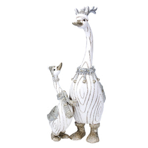 cadeauxwells - Silver/White Resin Pair of Ducks Ornament - Gisela Graham - Seasonal