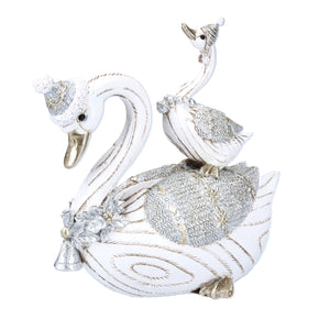 cadeauxwells - Silver/White Resin Pair of Swithans Ornament - Gisela Graham - Seasonal