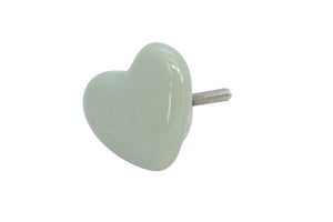 Soft Green Ceramic Heart Knob