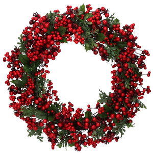 cadeauxwells - Green Leaf Wreath with Two-Tone Red Berries - Gisela Graham - Seasonal