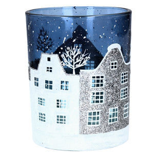 cadeauxwells - Large Blue/White Glass Street Scene lit by Tealight - Gisela Graham - Seasonal
