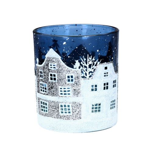 cadeauxwells - Small Blue/White Glass Street Scene lit by Tealight - Gisela Graham - Seasonal