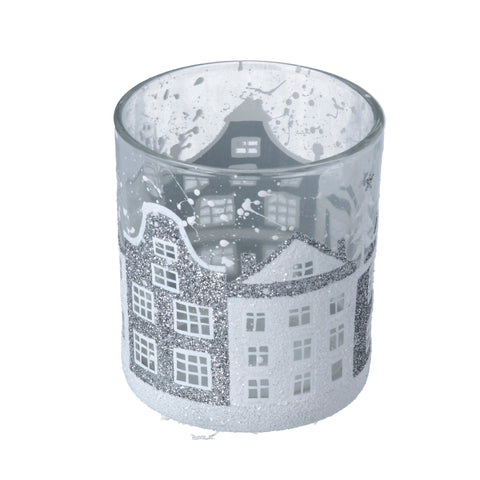 Clear Glass Night Light Pot with Silver/White Houses