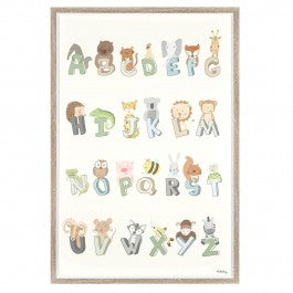 cadeauxwells - Alphabet Animals Framed Print - Art Marketing - Pictures and Artwork