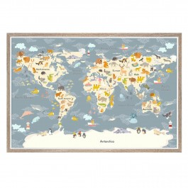 cadeauxwells - Animal Map Framed Print - Art Marketing - Pictures and Artwork